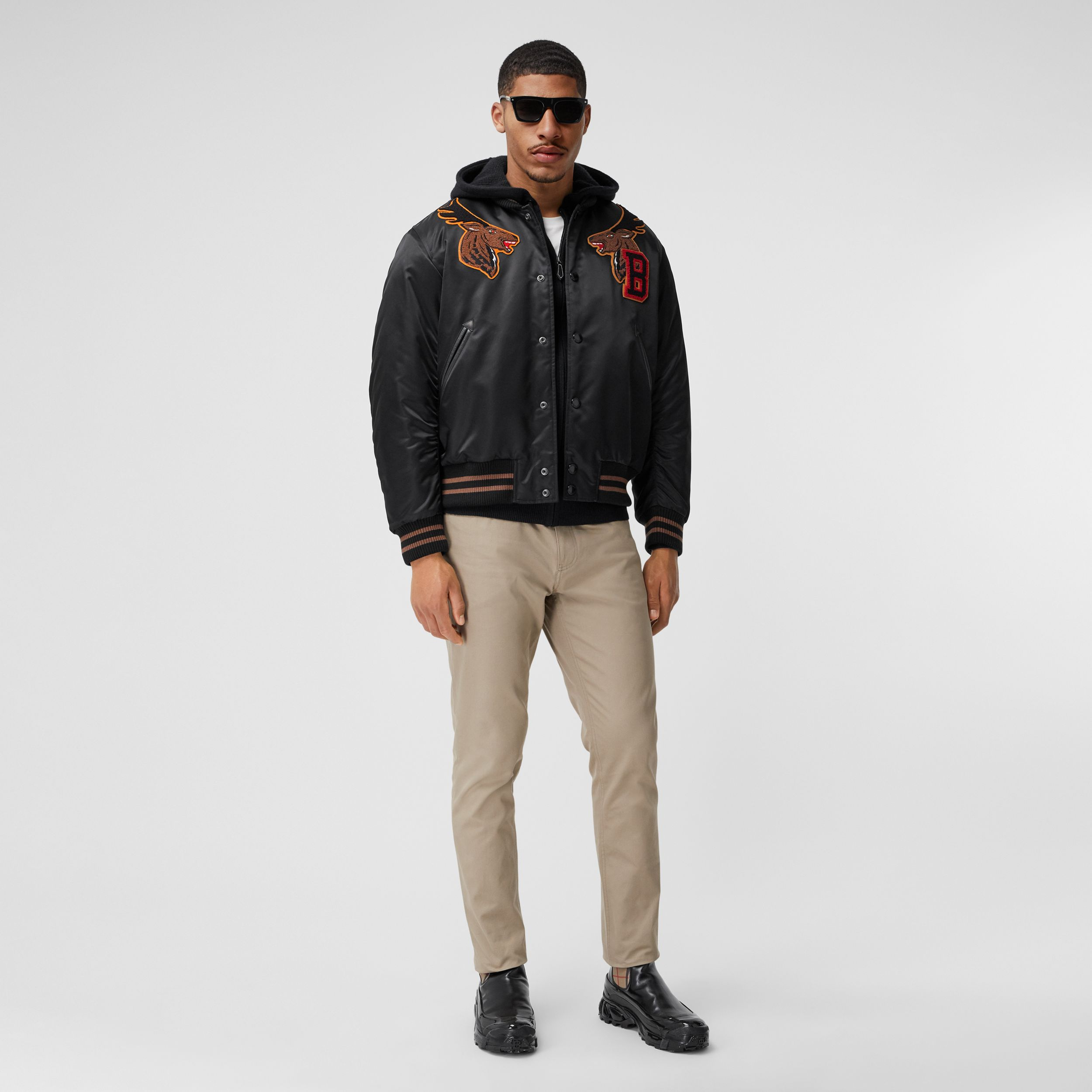 Varsity Graphic Satin Bomber Jacket in Black - Men | Burberry Australia - 1