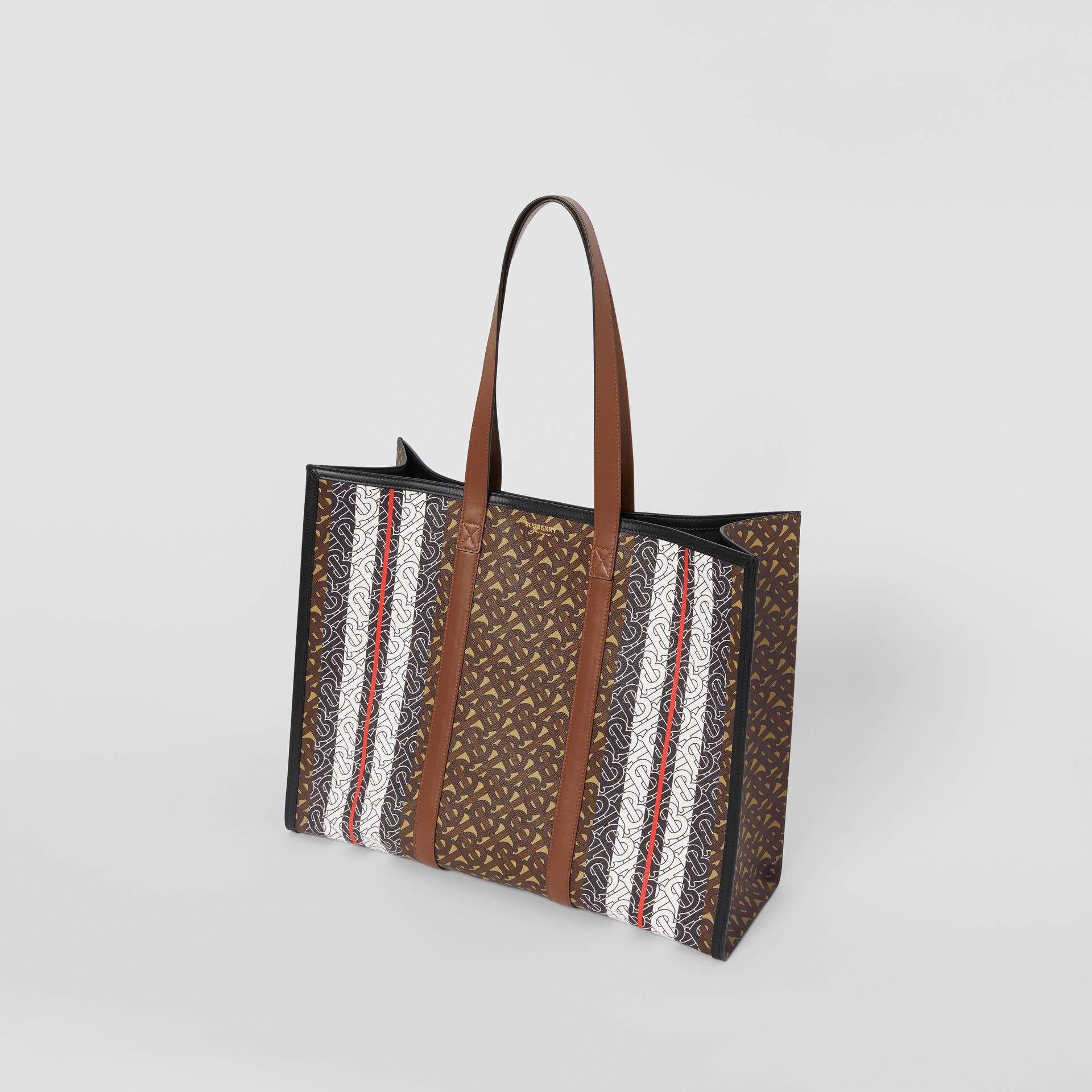 Small Monogram Stripe E-canvas Tote Bag in Bridle Brown - Women | Burberry - gallery image 2