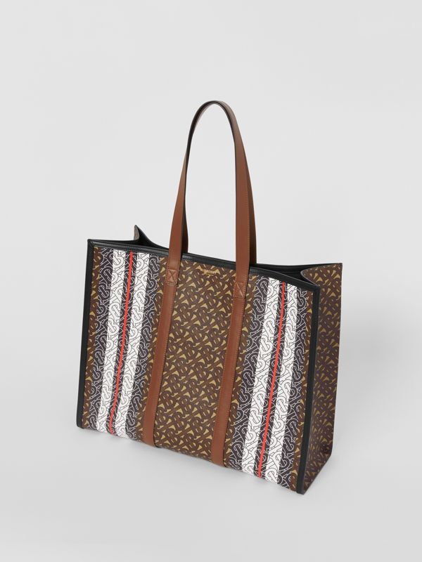 Small Monogram Stripe E-canvas Tote Bag in Bridle Brown - Women | Burberry - cell image 2