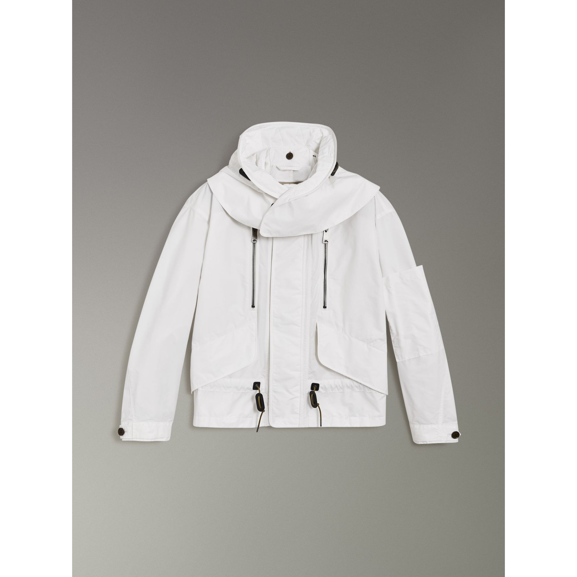 Detachable Hood Faille Jacket in White - Men | Burberry United States - gallery image 3