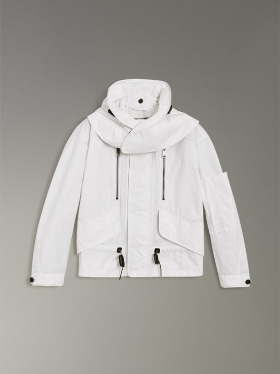 Detachable Hood Faille Jacket in White - Men | Burberry - cell image 3