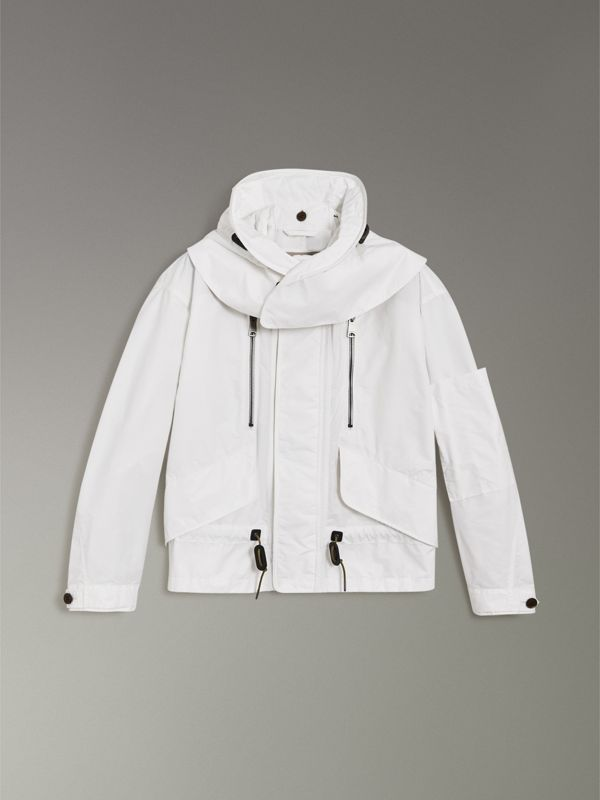 Detachable Hood Faille Jacket in White - Men | Burberry United States - cell image 3