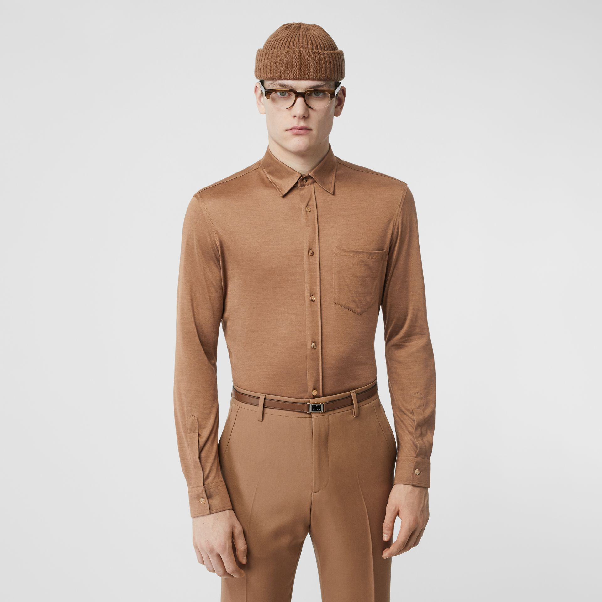 Classic Fit Silk Jersey Shirt in Warm Camel - Men | Burberry Singapore - gallery image 0