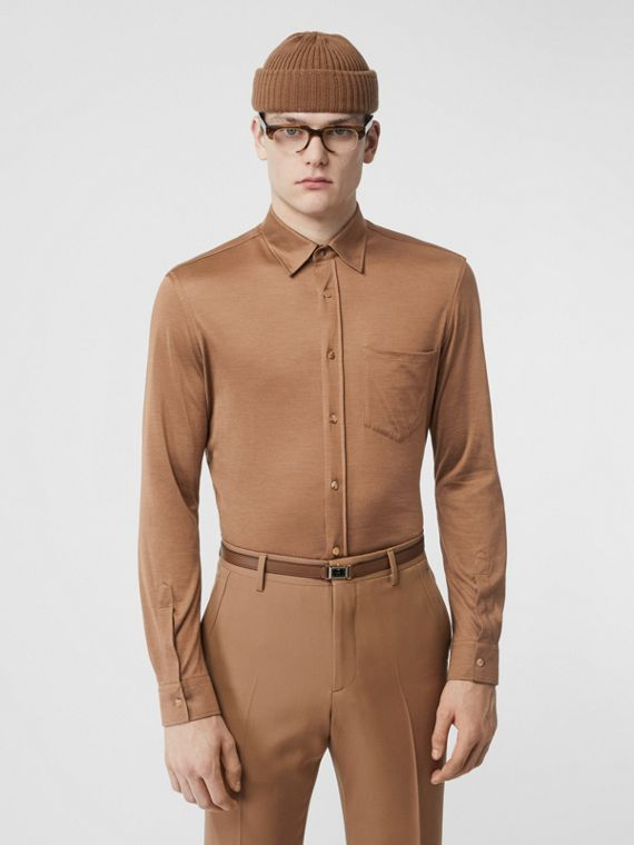 Classic Fit Silk Jersey Shirt in Warm Camel