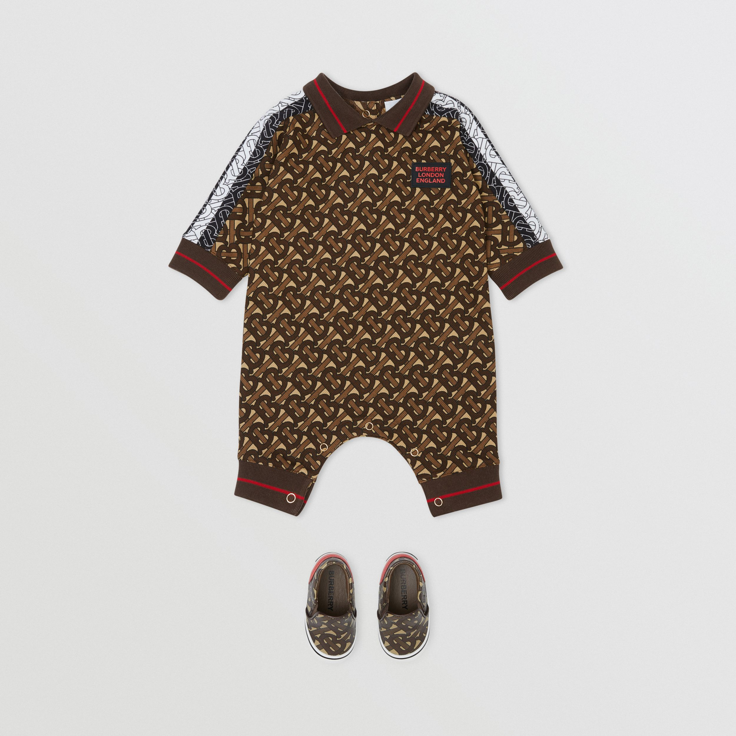 Monogram Stripe Print Cotton Piqué Jumpsuit in Bridle Brown - Children | Burberry Hong Kong S.A.R. - 3
