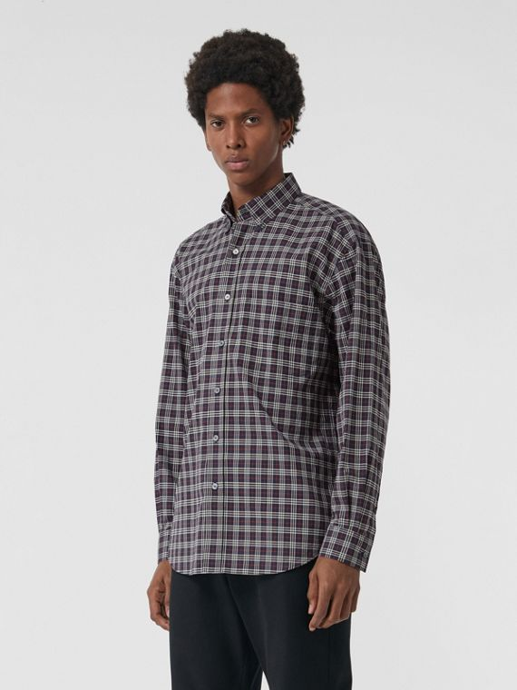 Small Scale Check Cotton Shirt in Navy