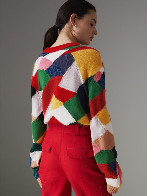 Patchwork Cashmere Wool Blend Sweater in Military Red - Women | Burberry Australia - cell image 2