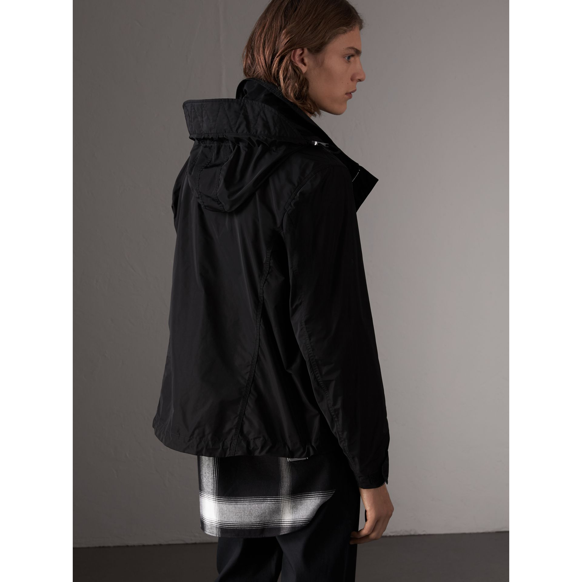 Packaway Hood Showerproof Jacket in Black - Men | Burberry - gallery image 2