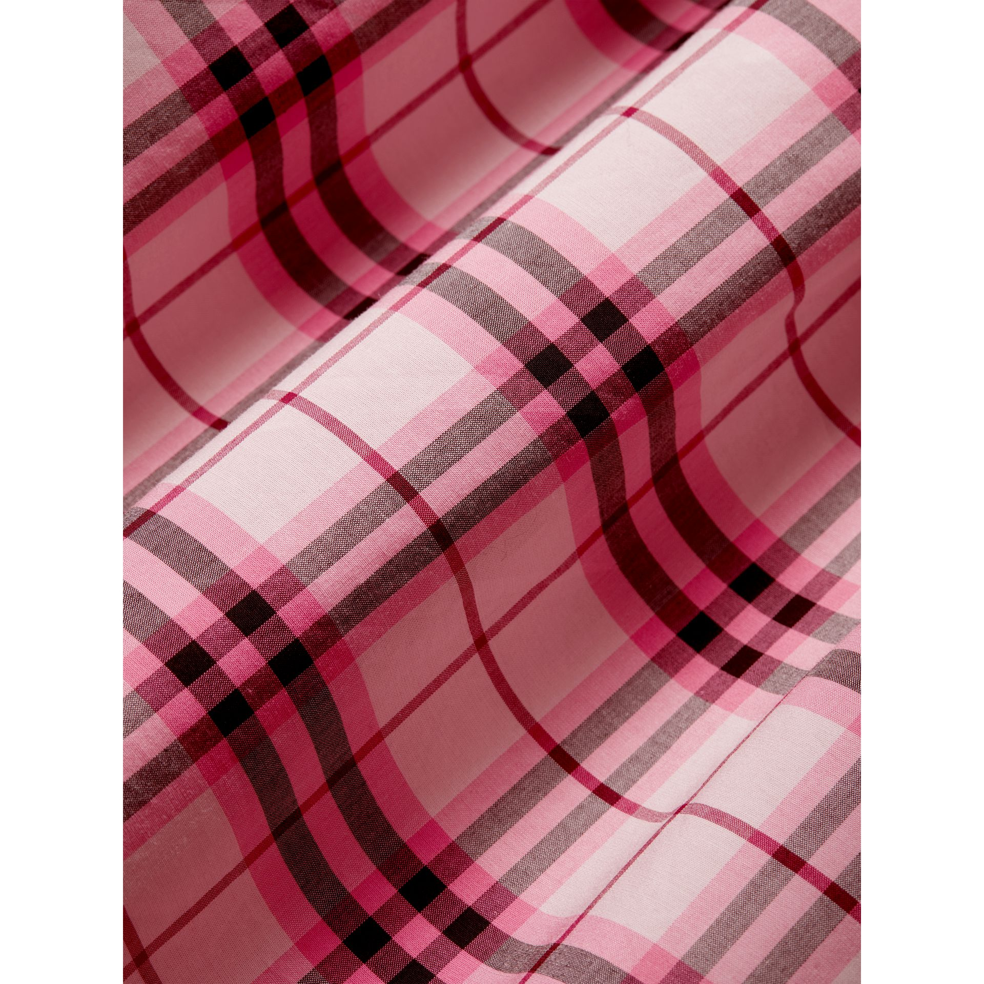 Tie Detail Check Cotton Dress in Bright Rose - Girl | Burberry United Kingdom - gallery image 1