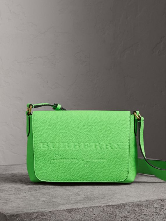 Small Embossed Neon Leather Messenger Bag in Green