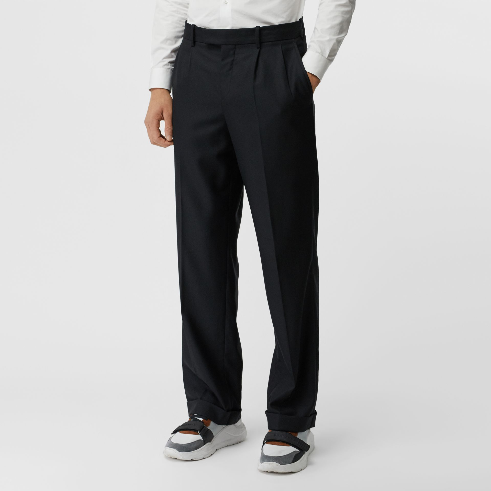 Wool Mohair Wide-leg Tailored Trousers in Black - Men | Burberry - gallery image 4