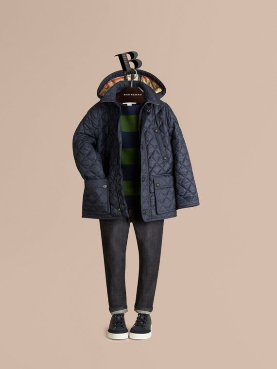 Detachable Hood Lightweight Quilted Jacket in Ink Blue - Boy | Burberry