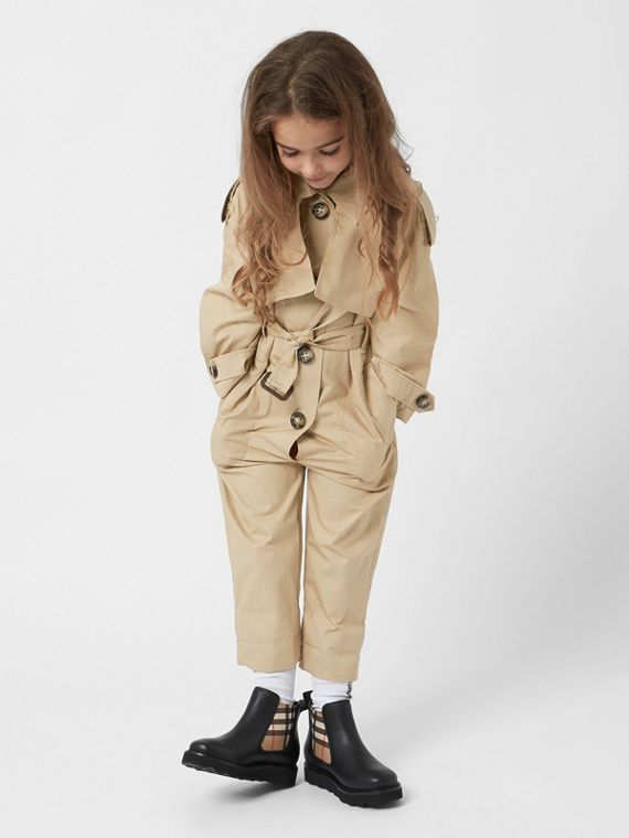 Cotton Trench Jumpsuit in Honey