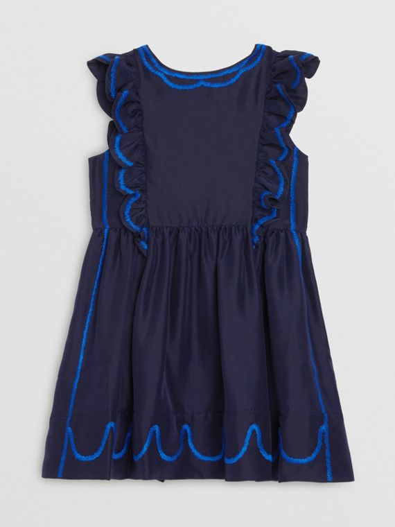 Ruffle Detail Embroidered Silk Dress in Navy