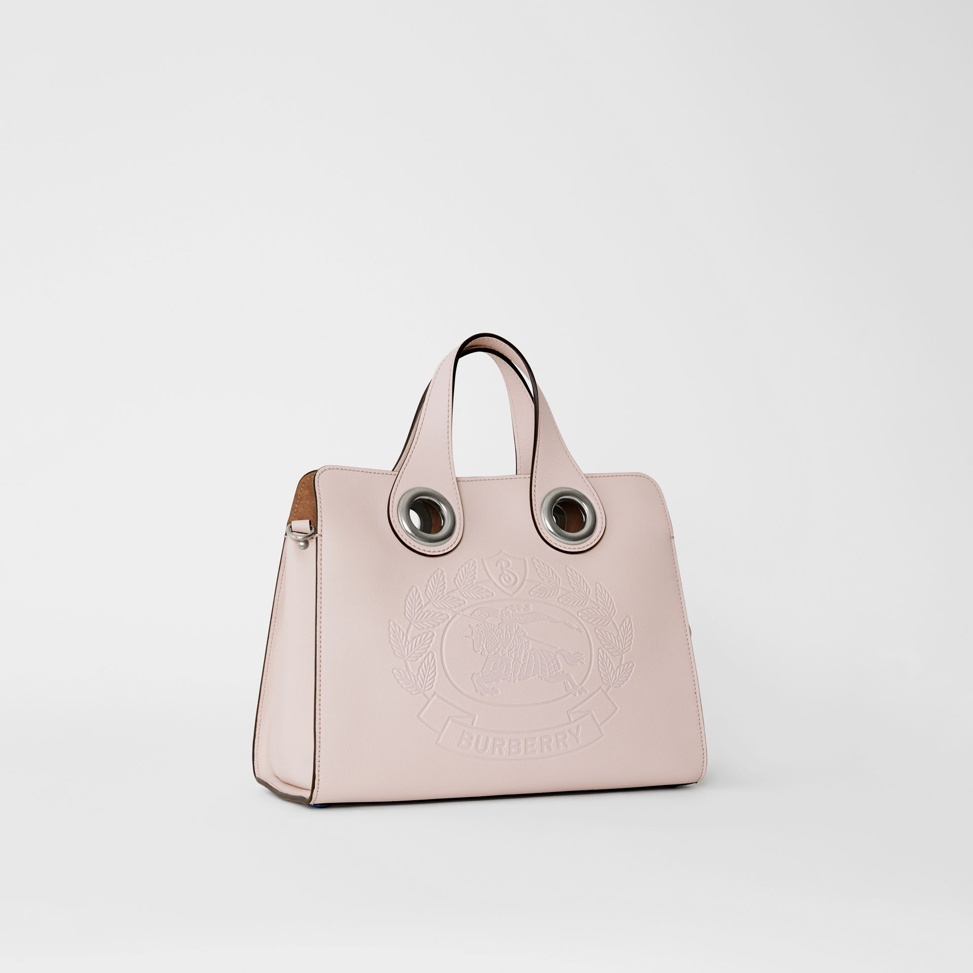 The Leather Crest Grommet Detail Tote in Chalk Pink - Women | Burberry - gallery image 6