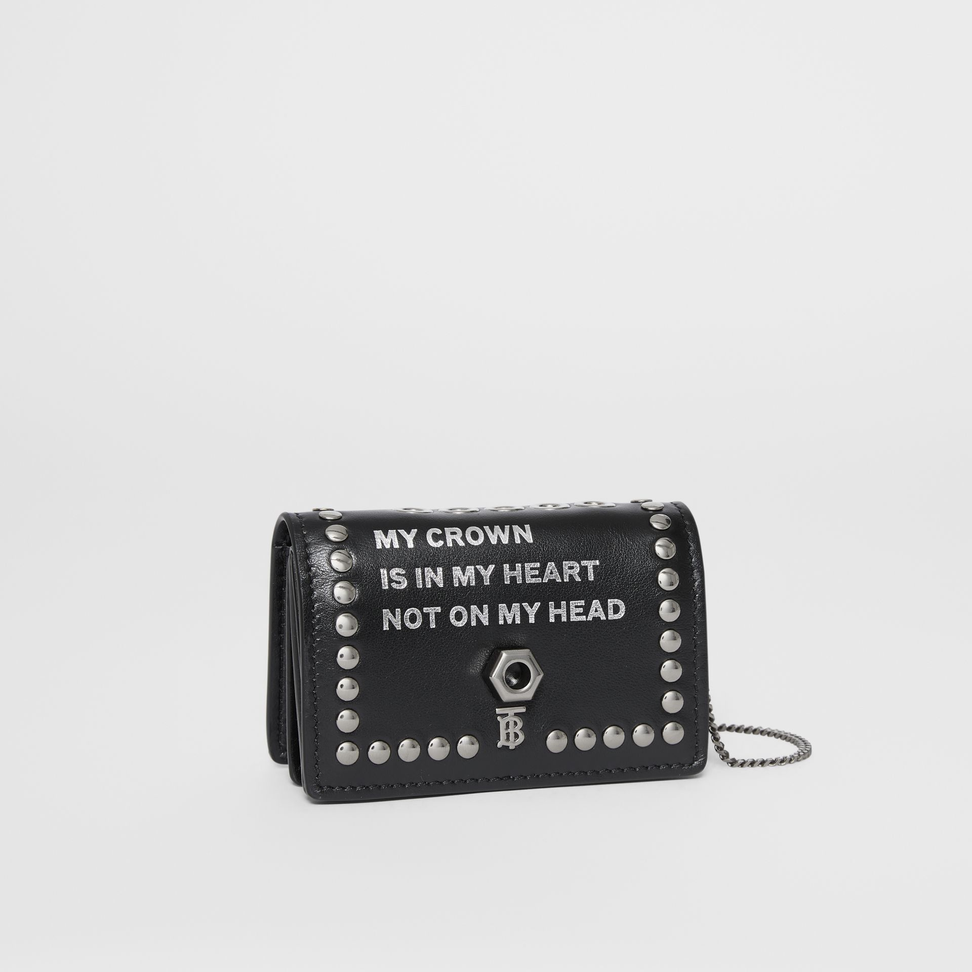 Embellished Leather Card Case with Detachable Strap in Black - Women | Burberry Australia - gallery image 7