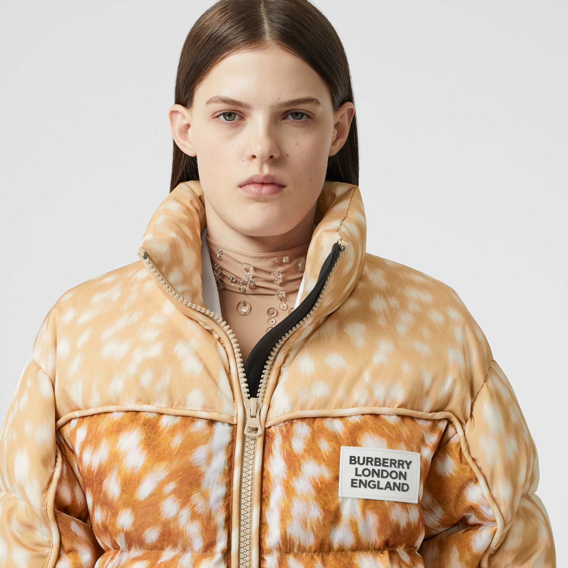 Deer Print ECONYL® Puffer Jacket in Honey - Women | Burberry - gallery image 6