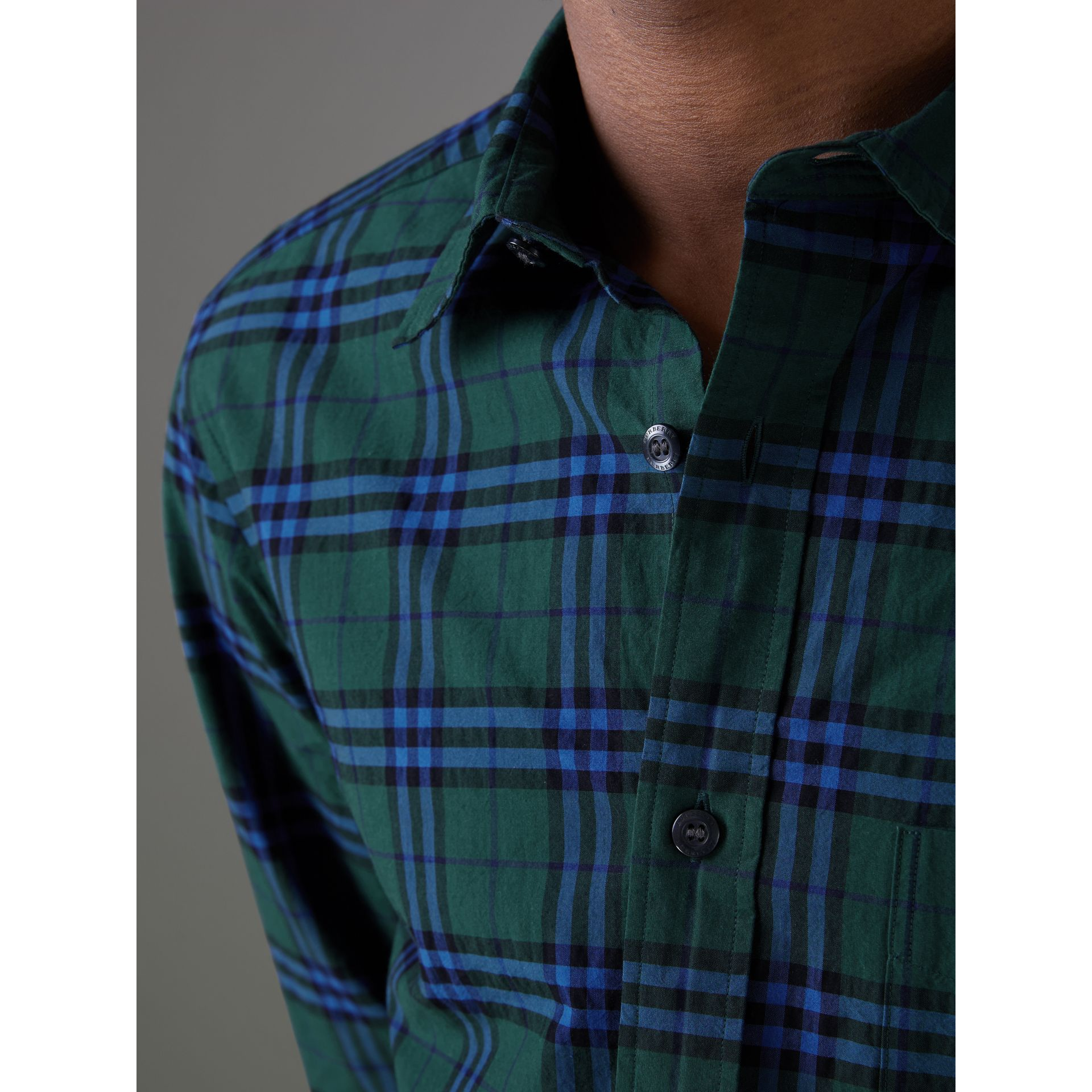 Check Cotton Shirt in Forest Green - Men | Burberry Hong Kong - gallery image 1
