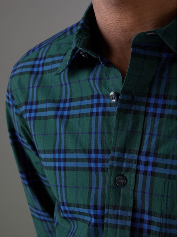 Check Cotton Shirt in Forest Green - Men | Burberry - cell image 1