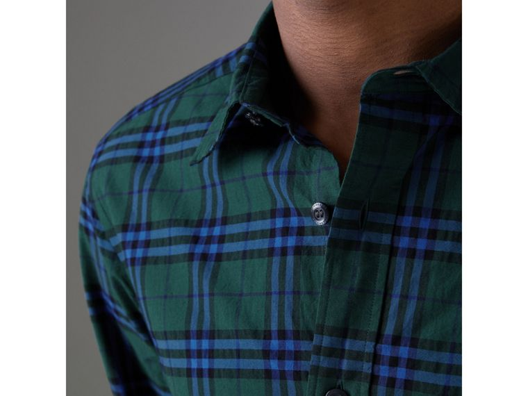 Check Cotton Shirt in Forest Green - Men | Burberry Hong Kong - cell image 1