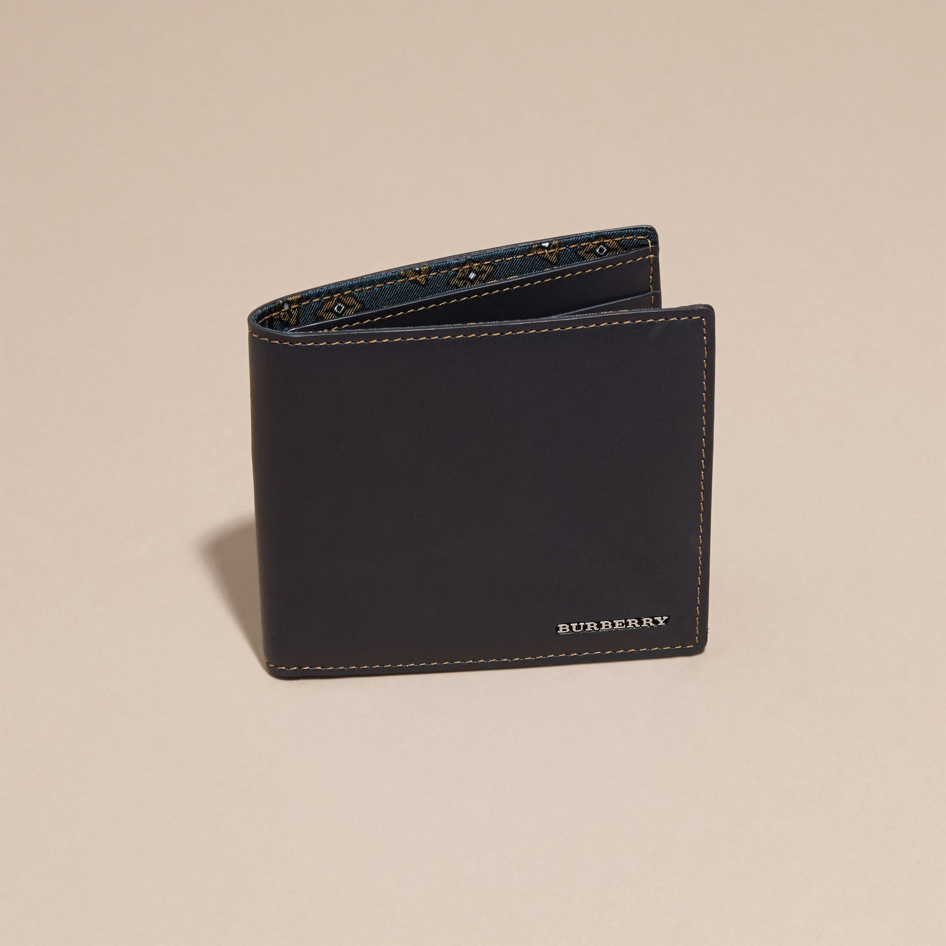 Dark navy Smooth Leather Folding Wallet Dark Navy - gallery image 3