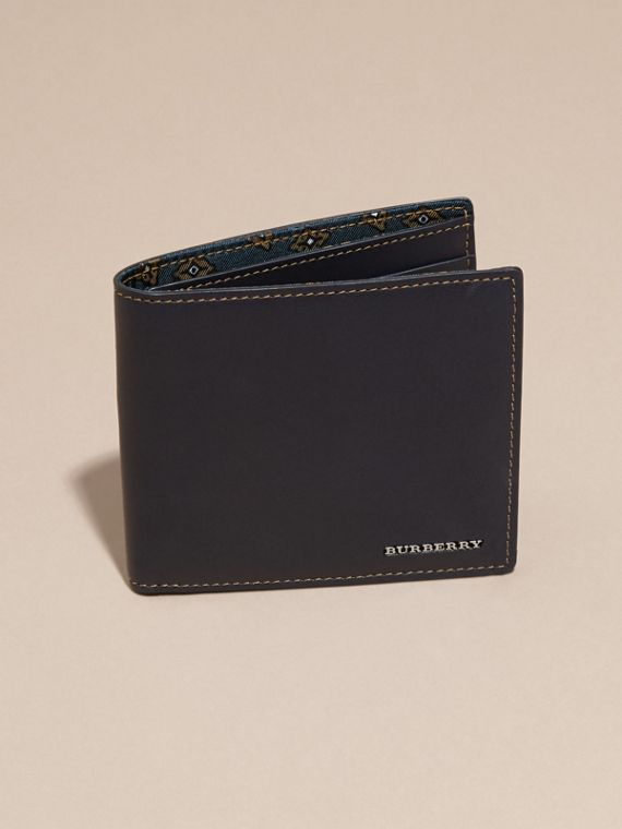 Dark navy Smooth Leather Folding Wallet Dark Navy - cell image 2