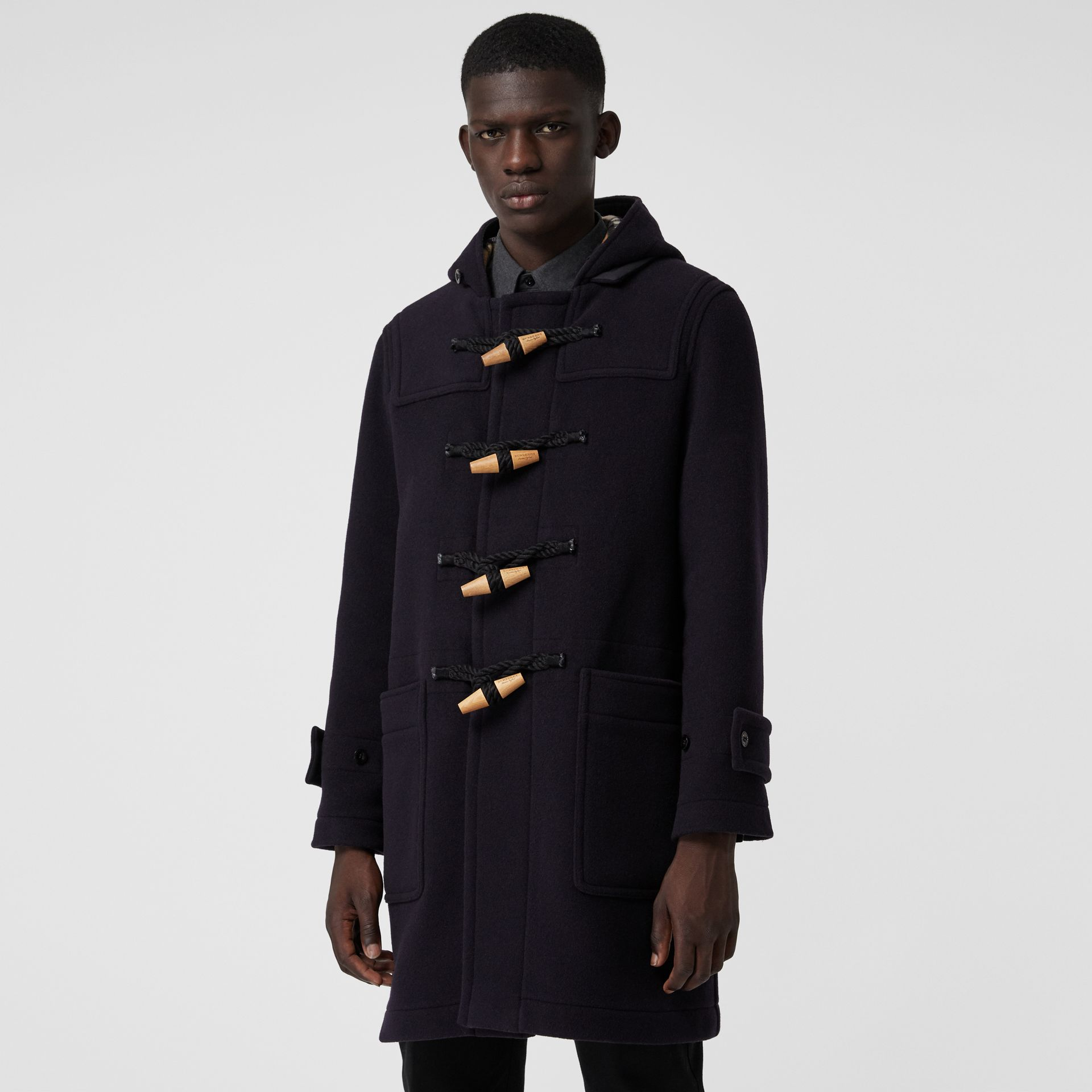 Vintage Check Detail Wool Blend Hooded Duffle Coat in Navy - Men | Burberry United Kingdom - gallery image 5