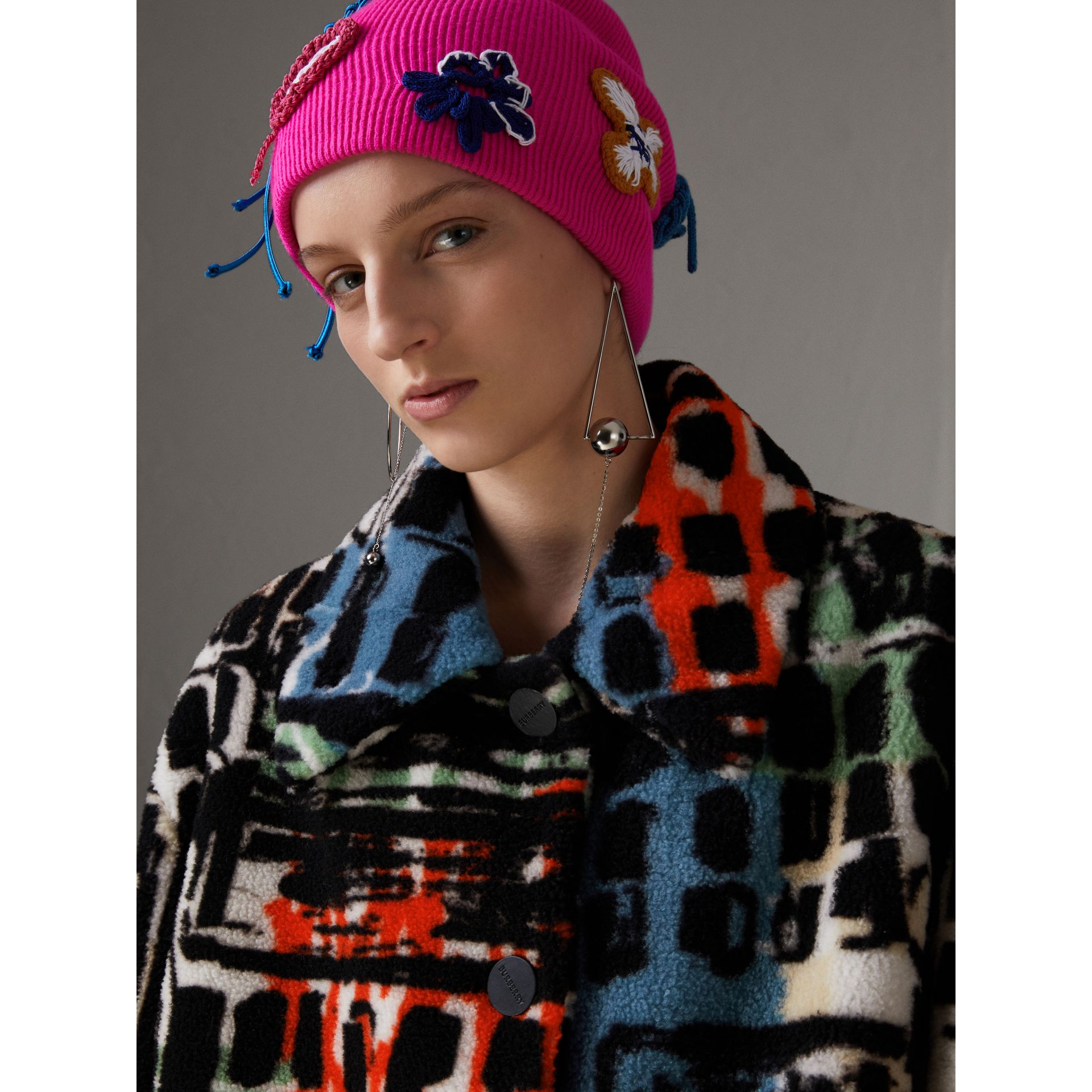 Graffiti Print Shearling Oversized Jacket in Steel Blue - Women | Burberry - gallery image 1