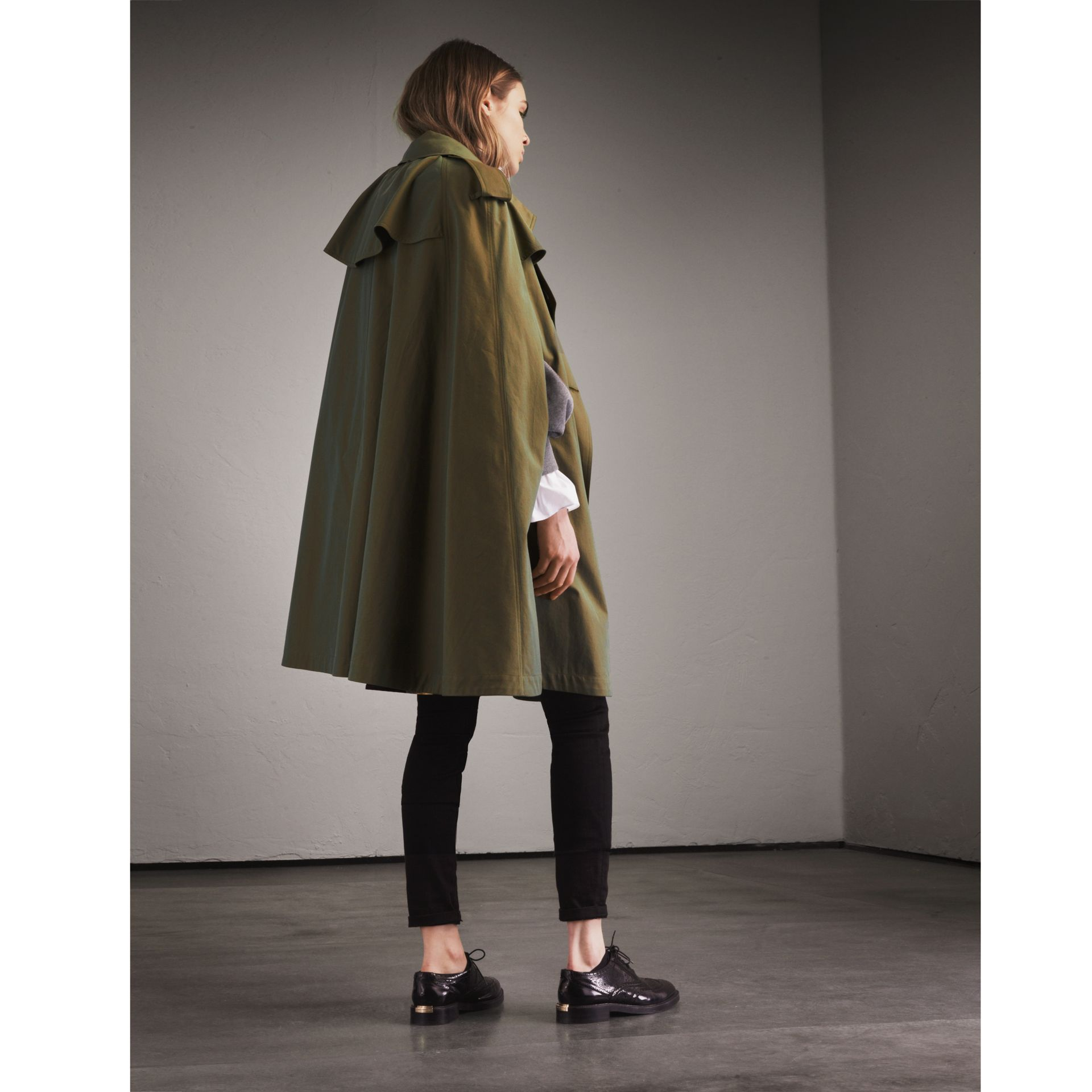 Tropical Gabardine Cape with Check Detail in Bright Olive - Women | Burberry Australia - gallery image 3