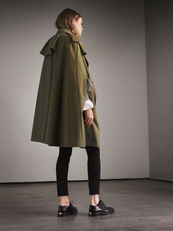 Tropical Gabardine Cape with Check Detail in Bright Olive - Women | Burberry Australia - cell image 2