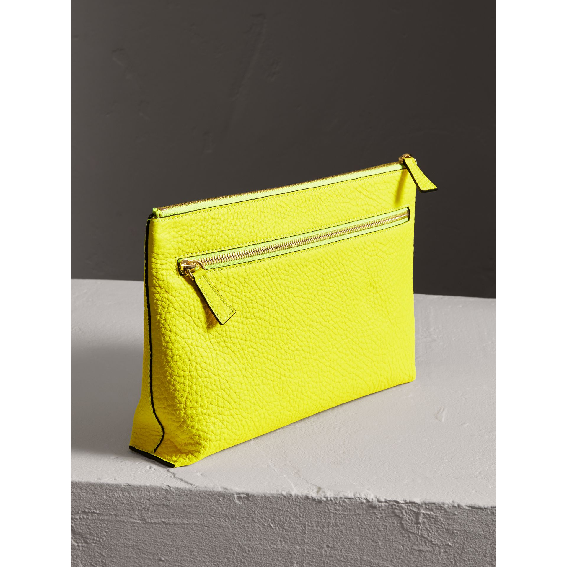 Large Embossed Leather Zip Pouch in Bright Yellow | Burberry - gallery image 2