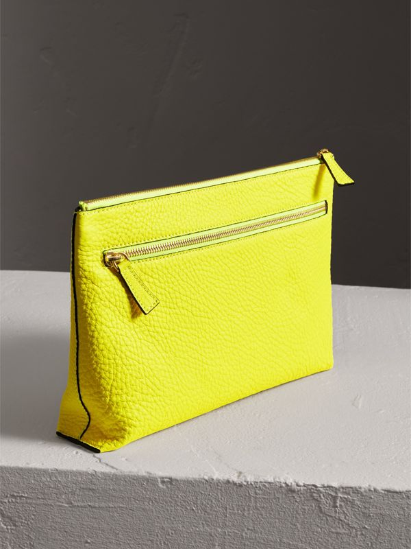 Large Embossed Leather Zip Pouch in Bright Yellow | Burberry - cell image 2