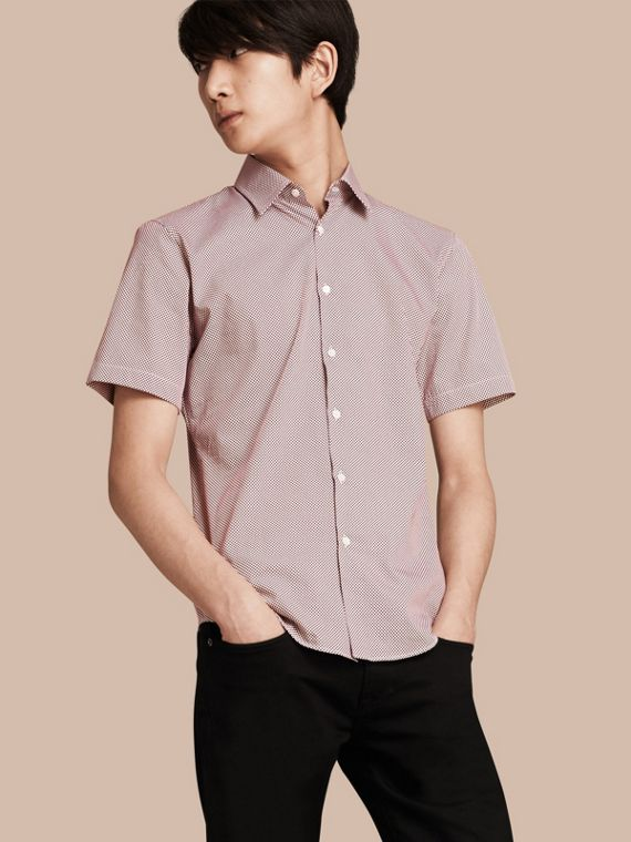 Short-sleeved Polka-dot Cotton Shirt