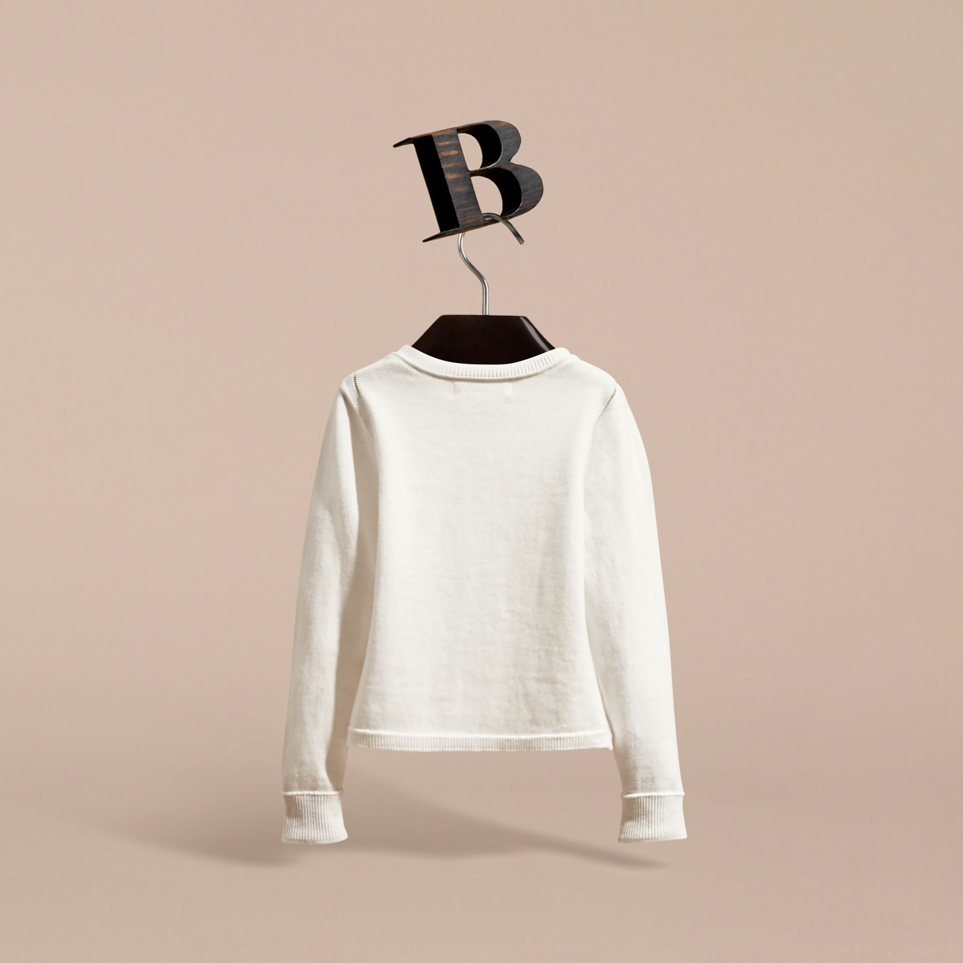 Check Cuff Cotton Knit Cardigan in White - Girl | Burberry - gallery image 4