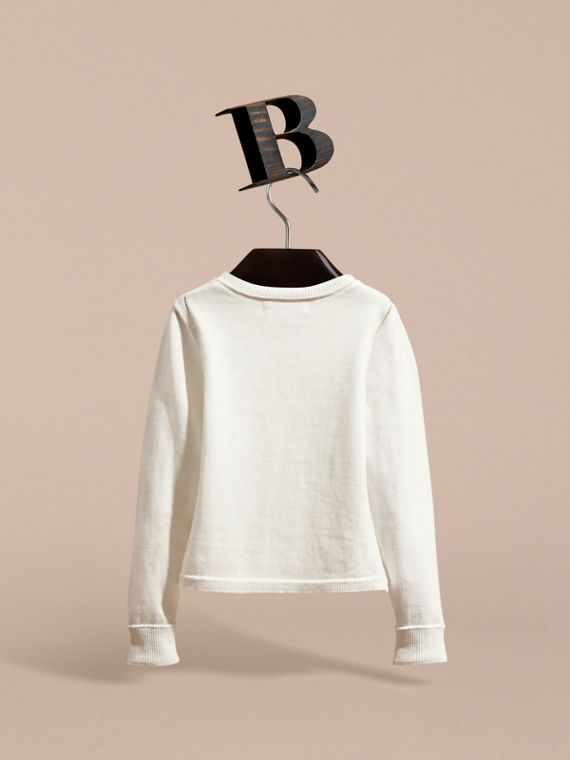 Check Cuff Cotton Knit Cardigan in White - Girl | Burberry Hong Kong - cell image 3