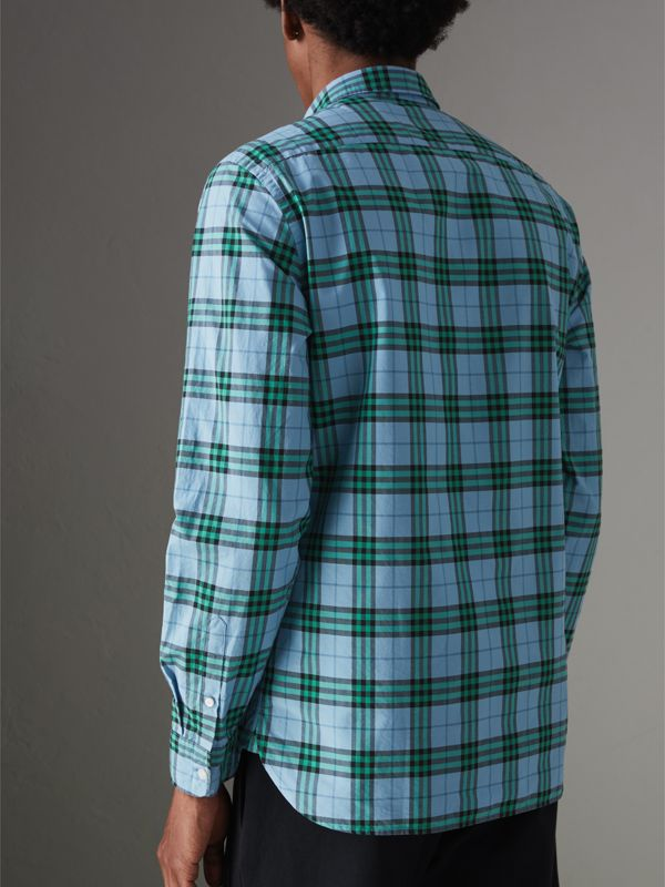 Check Cotton Shirt in Blue Topaz - Men | Burberry Australia - cell image 2