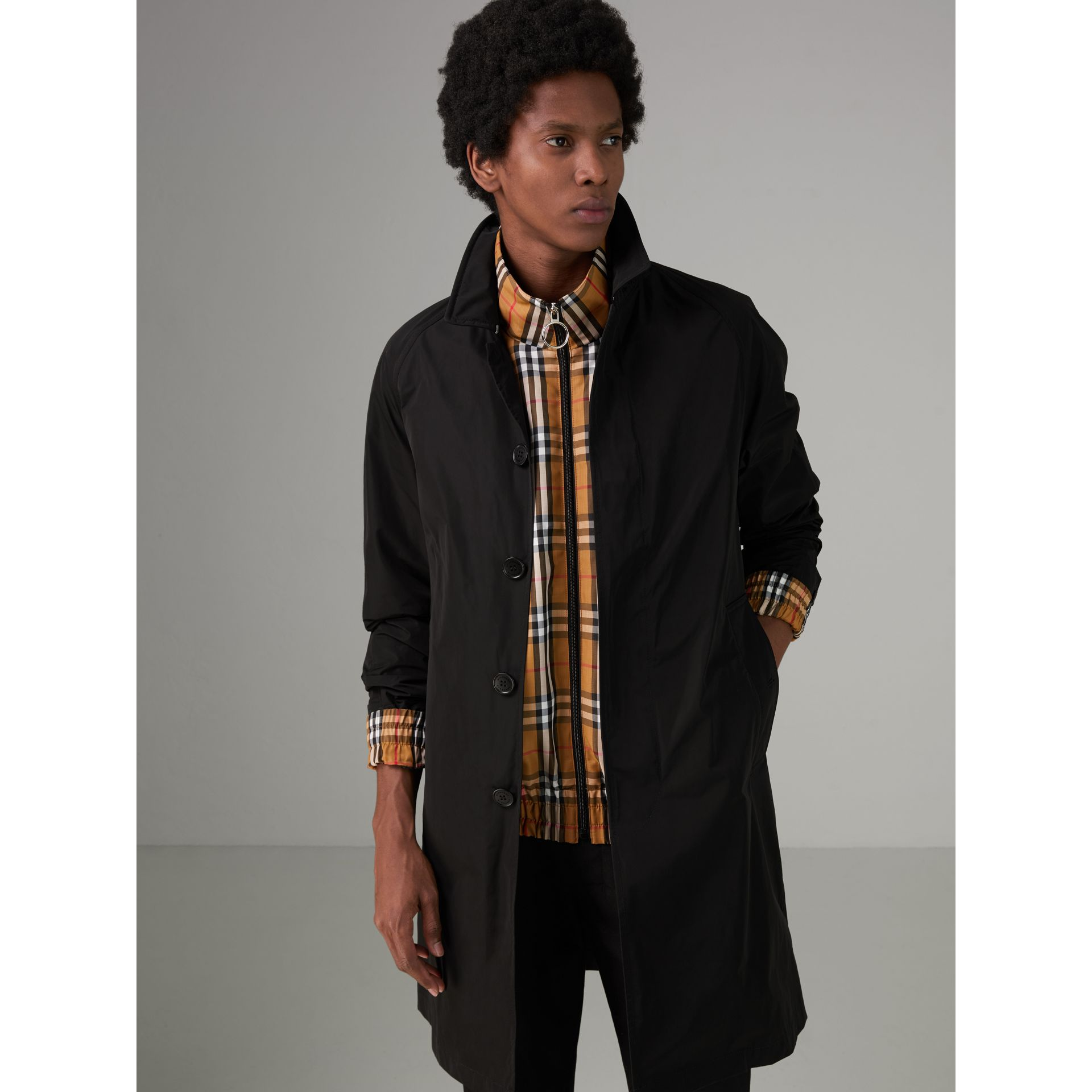 Shape-memory Taffeta Car Coat in Black - Men | Burberry - gallery image 4