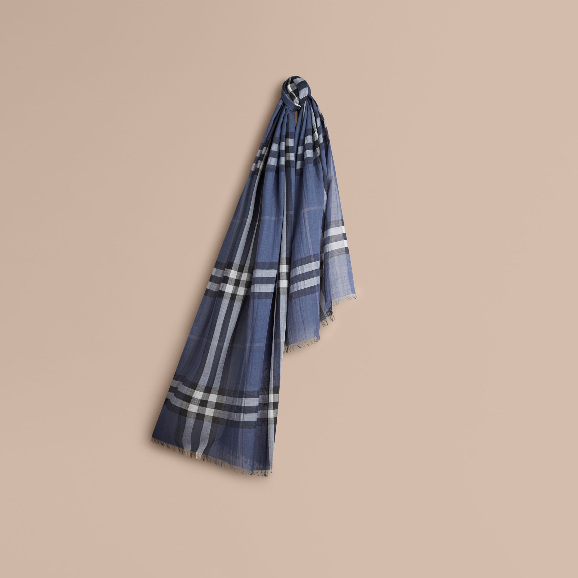 Thistle blue Lightweight Check Wool and Silk Scarf Thistle Blue - gallery image 1