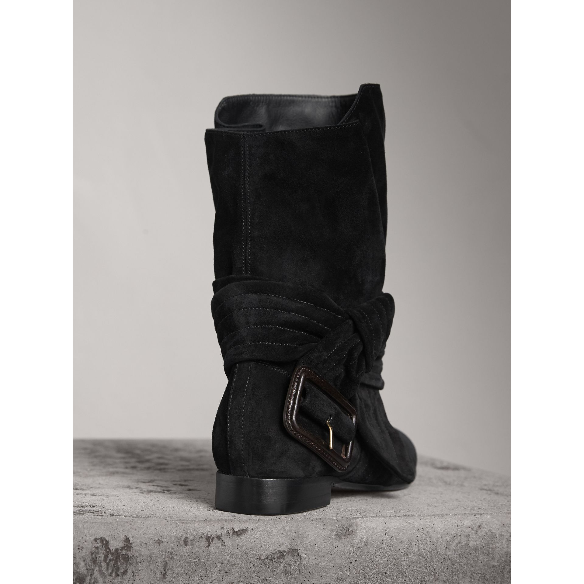 Belt Detail Suede Boots in Black - Women | Burberry United States - gallery image 3