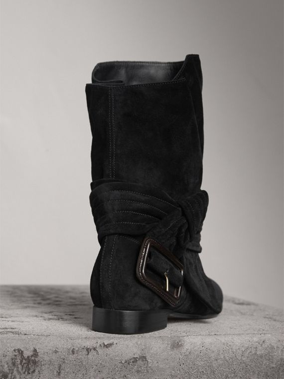 Belt Detail Suede Boots in Black - Women | Burberry - cell image 3