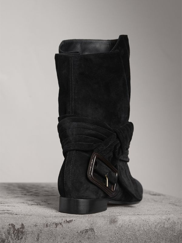 Belt Detail Suede Boots in Black | Burberry - cell image 3