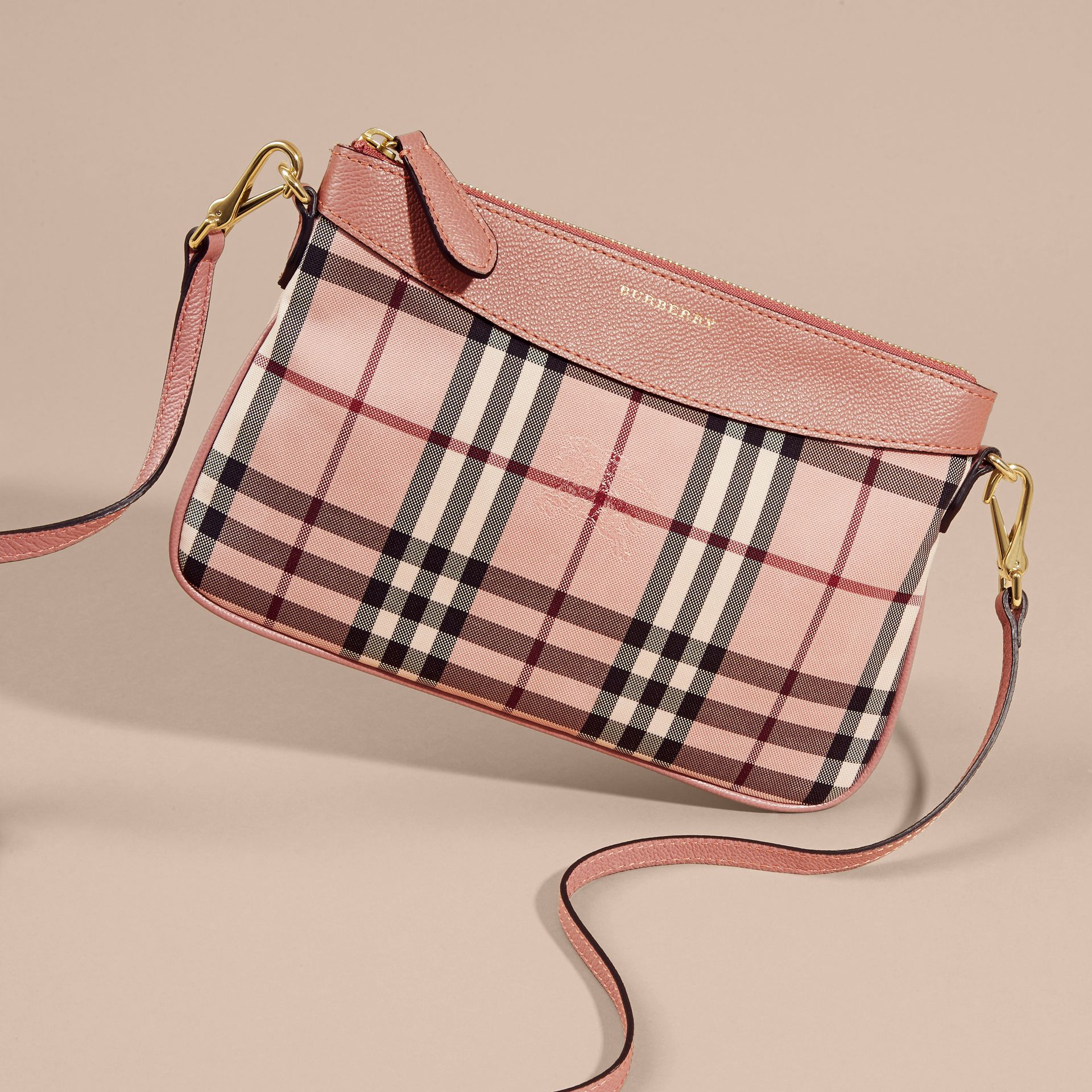 Horseferry Check and Leather Clutch Bag - gallery image 8
