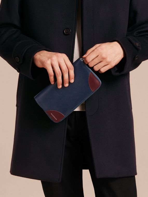 Contrast Corner London Leather Ziparound Wallet in Dark Navy - cell image 2