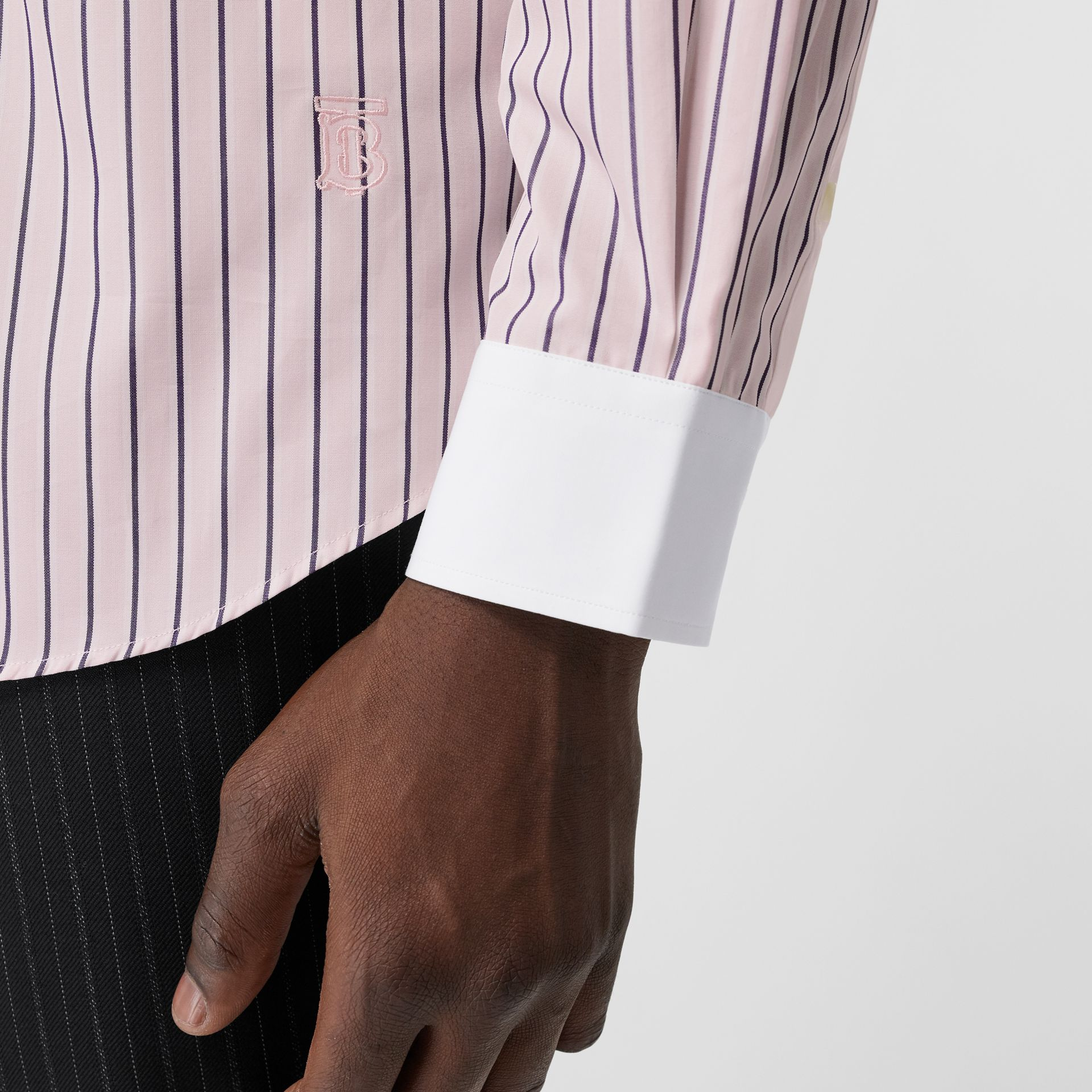 Classic Fit Monogram Motif Striped Cotton Shirt in Alabaster Pink - Men | Burberry - gallery image 4