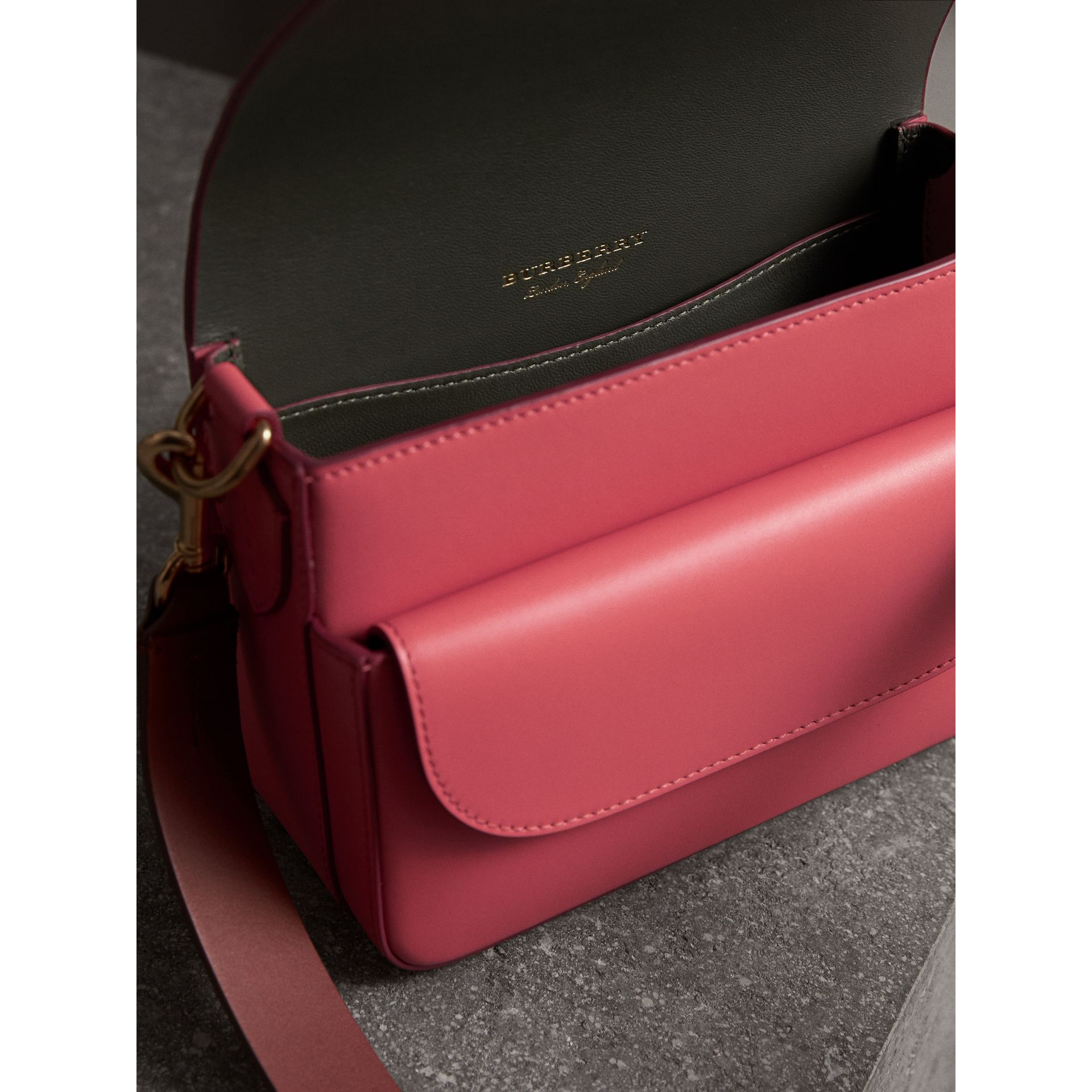 The Square Satchel in Leather in Bright Peony - Women | Burberry United States - gallery image 4