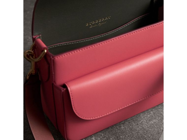 The Square Satchel in Leather in Bright Peony - Women | Burberry United Kingdom - cell image 4