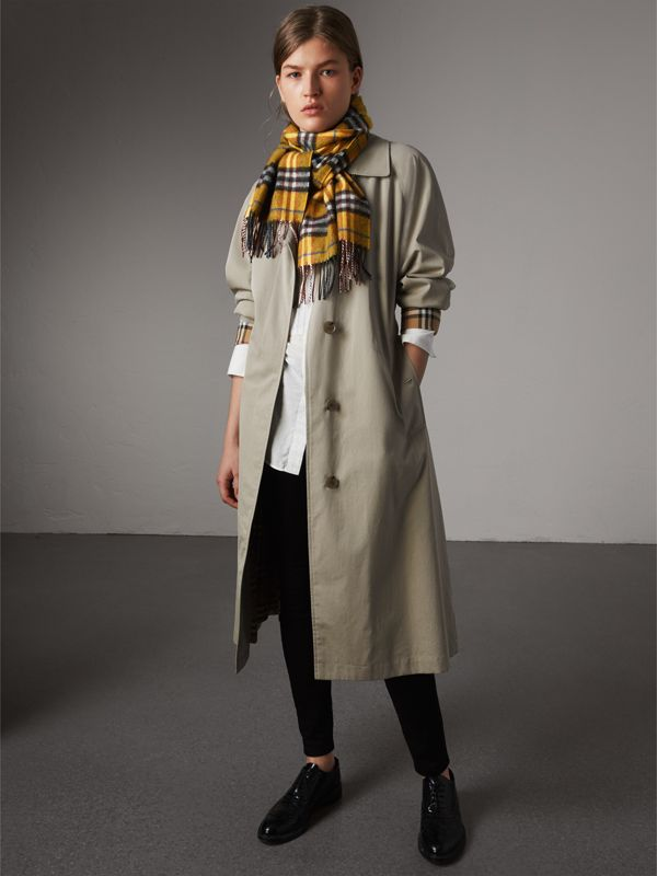 Check Cashmere Scarf in Amber Yellow | Burberry - cell image 2