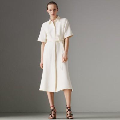 Short-sleeve Wool Silk Shirt Dress in Off White