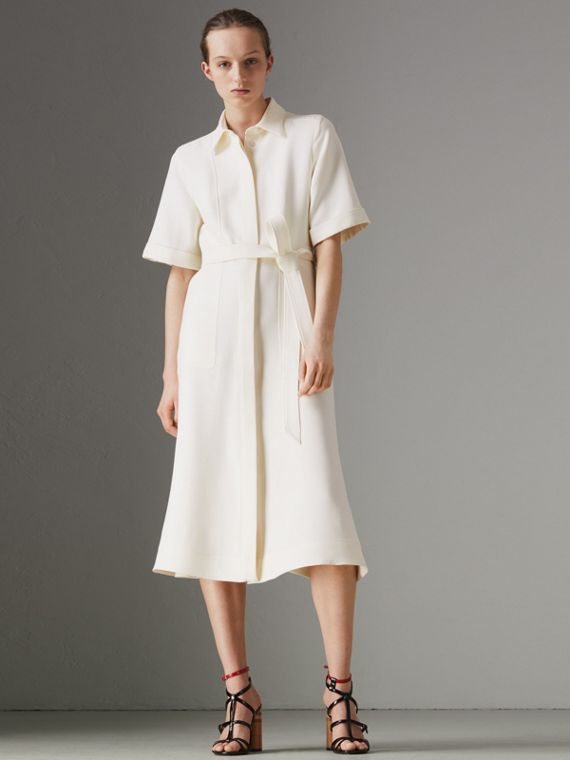 Short-sleeve Wool Silk Shirt Dress in Off White