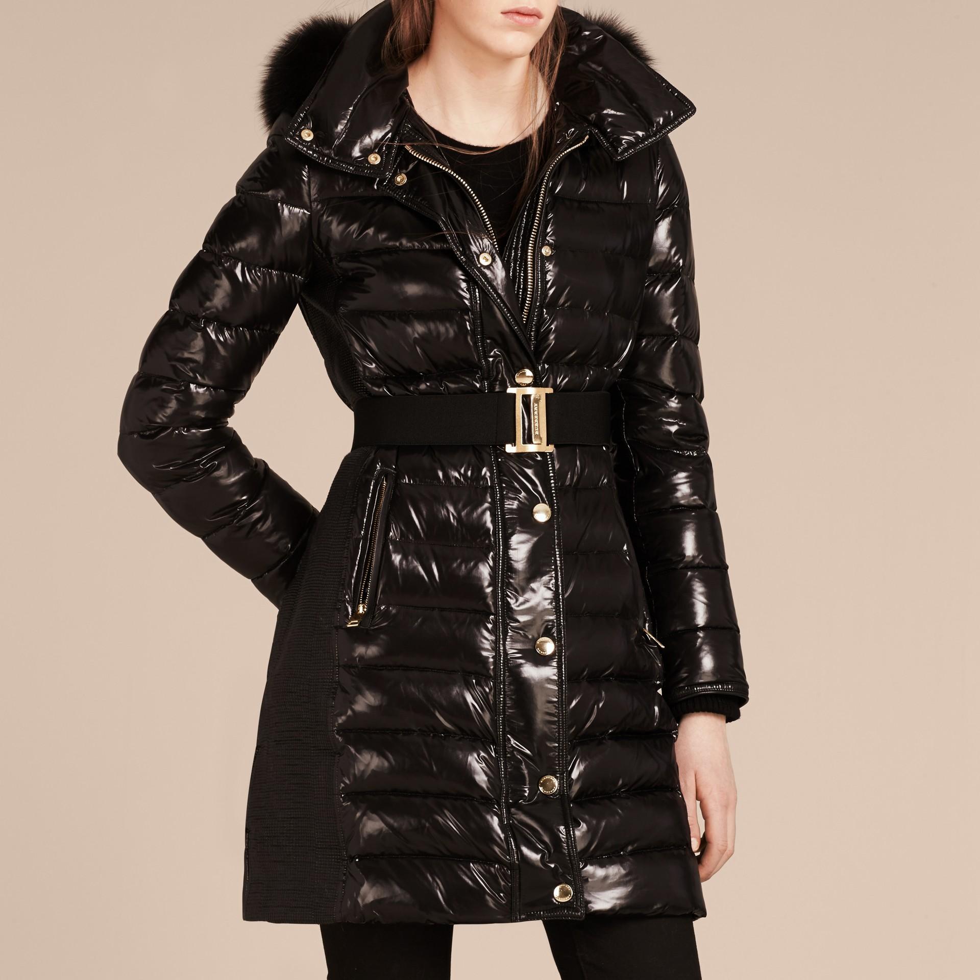 Noir Manteau rembourré en duvet à capuche amovible bordée de fourrure Noir - photo de la galerie 3